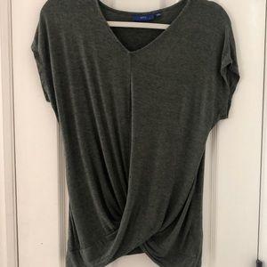 Green criss cross front shirt